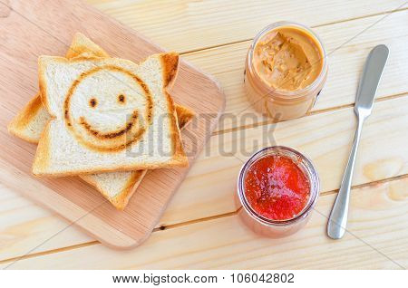 Toast With Strawberry Jam And Peanut Butter