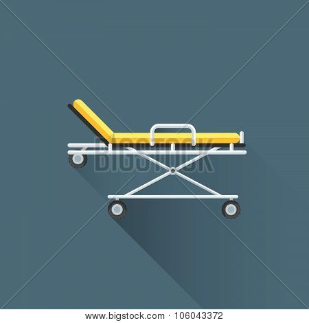 Vector Flat Medical Stretcher On Wheels Illustration Icon.