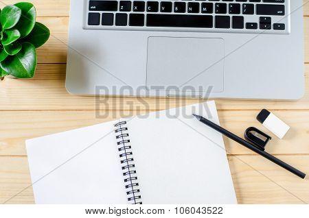Blank White Sketchbook With Black Pencil, Sharpener And Eraser