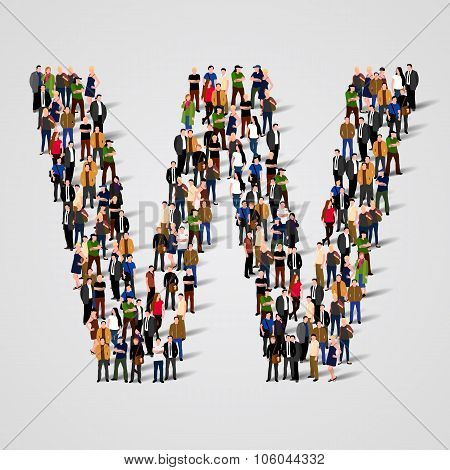 Large group of people in letter W form