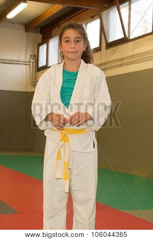A Young And Pretty Girl Practice Judo Inside
