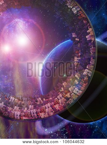 Huge City Multi-Generational City Ship Encounters New Planet