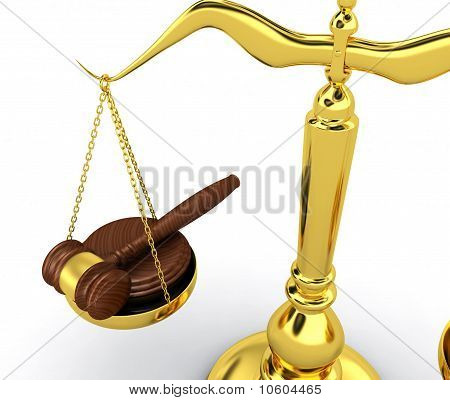 Scale with gavel
