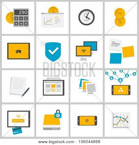 Finance, Business and Media - money, shopping, watching video, working, social networking - set of flat design illustrations