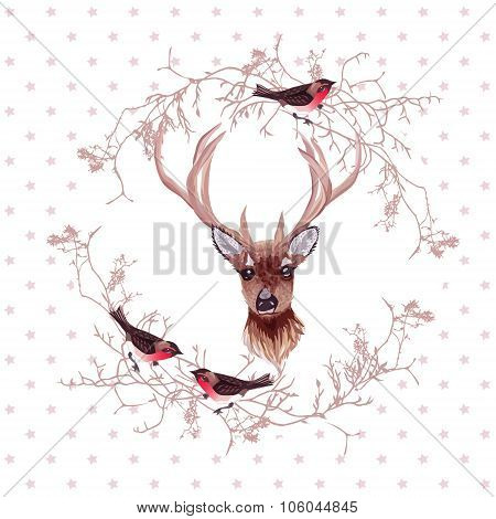 Reindeer And Bullfinches Round Vector Design Frame