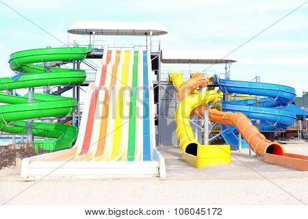 Water chutes on the beach
