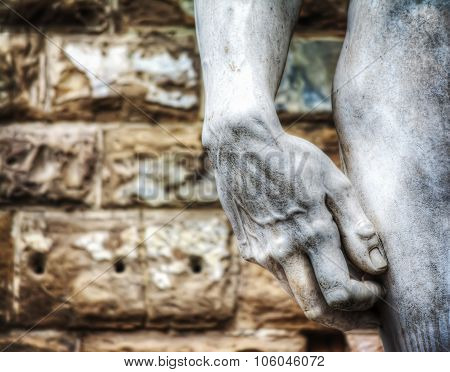 Close Up Of Michelangelo's David Hand In Hdr