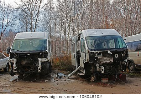 Disassembled cars after the accident