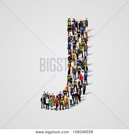 Large group of people in letter J form