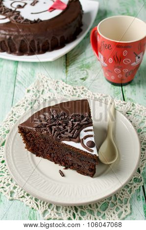 Piece Of Chocolate Cake With Banana