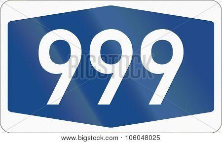 German Information Road Sign: Federal Highway Number 999