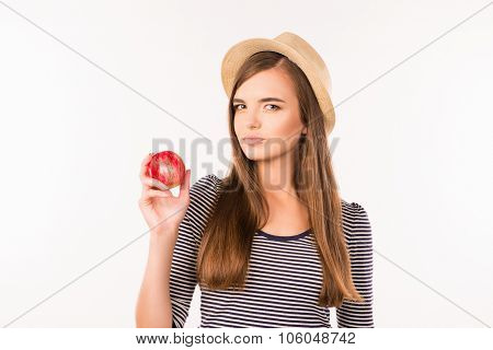 Nice Pretty Girl With Hat And Apple