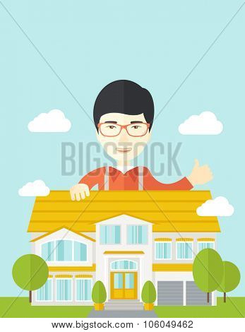 An asian real estate agent wearing glasses standing behind the house with thumbs up vector flat design illustration. Vertical layout with a text space.