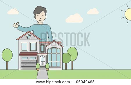 An asian real estate agent standing behind the house with thumbs up. Vector line design illustration. Horizontal layout with a text space for a social media post.
