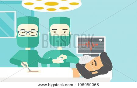Two asian surgeons working and looking over a lying patient in an operating room vector flat design illustration. Horizontal layout with a text space.