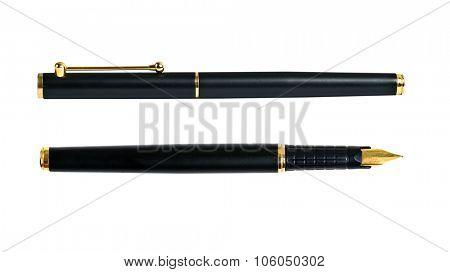 Elegance golden ink fountain pen isolated on white