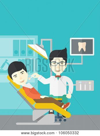 An asian dentist man examines a patient teeth in the clinic vector flat design illustration. Vertical layout with a text space.