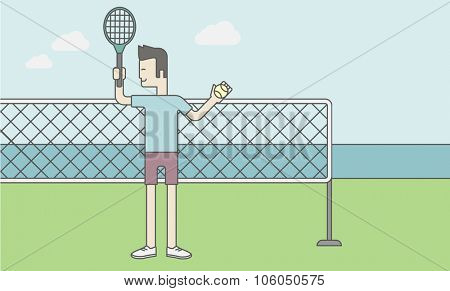 Tennis player standing with racquet and ball in hands at the net. Vector line design illustration. Horizontal layout with a text space for a social media post.