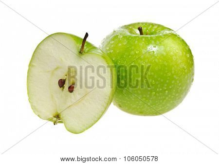 Green apple whole and half isolated on white background
