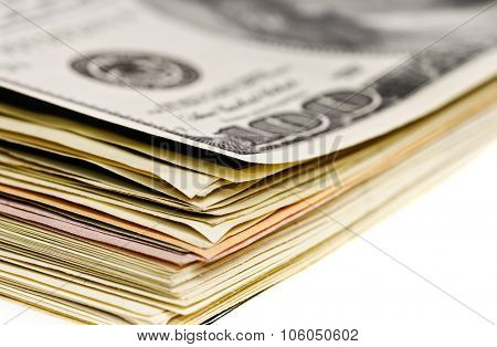 stack of dollar banknotes macro view isolated on white