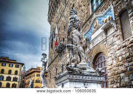 Palazzo Vecchio Front View With David And Hercules Statues In Florence