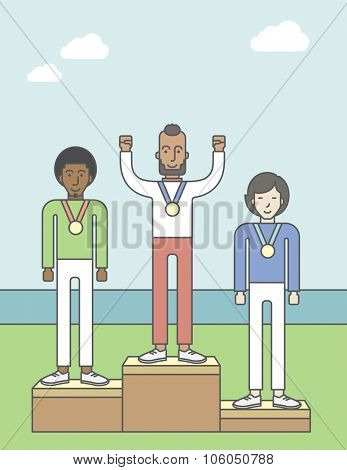 Three male athletes with medals standing on a pedestal. Vector line design illustration. Vertical layout with a text space for a social media post.