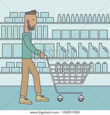 An african-american hipster man with beard pushing an empty cart in supermarket. Vector line design illustration. Square layout.