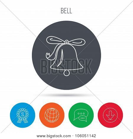 Ringing bell icon. Sound handbell sign.