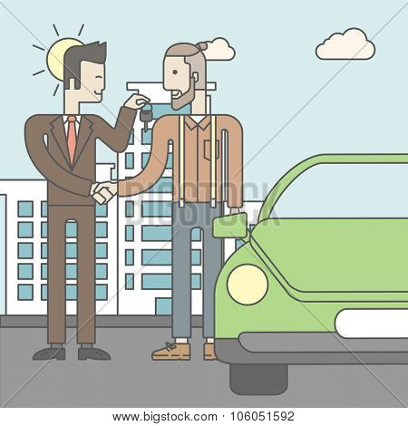 An asian car salesman giving the car keys to a new owner on city background. Vector line design illustration. Square layout.