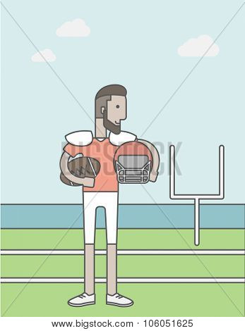 A caucasian hipster rugby player with ball and helmet in hands standing on the stadium. Vector line design illustration. Vertical layout with a text space for a social media post.