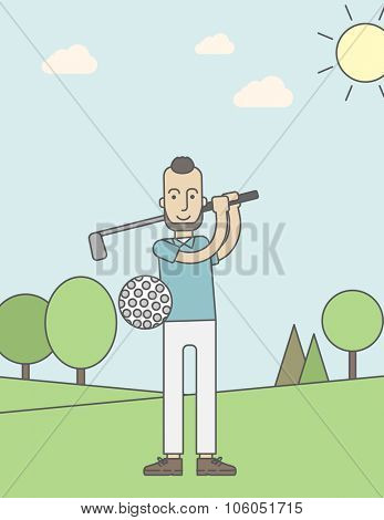A caucasian golf player with beard hitting the ball in the field. Vector line design illustration. Vertical layout with a text space for a social media post.