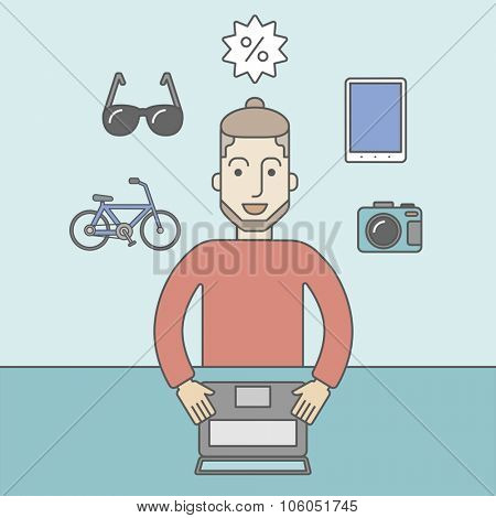 A caucasian hipster man with beard sitting in front of laptop and some icons of goods around him, symbolizing on-line shopping. Vector line design illustration. Square layout.