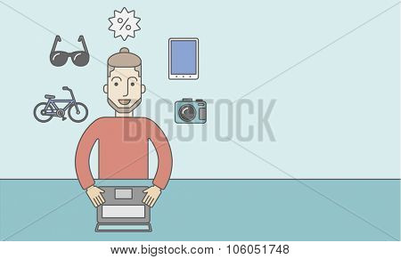 A caucasian hipster man with beard sitting in front of laptop and some icons of goods around him, symbolizing on-line shopping. Vector line design illustration. Horizontal layout with a text space for