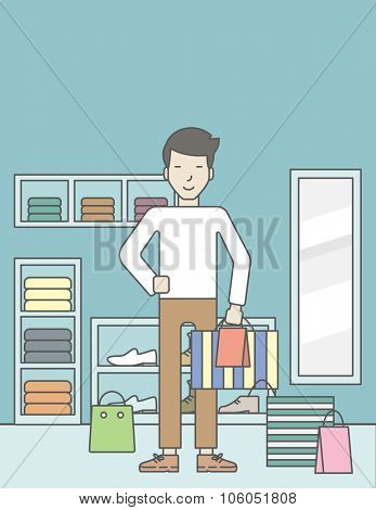 An asian man with some bags in hand and some bags on the floor in the store. Vector line design illustration. Vertical layout with a text space for a social media post.