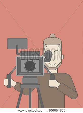 A caucasian cameraman with beard looking through movie camera on a tripod. Vector line design illustration. Vertical layout with a text space for a social media post.