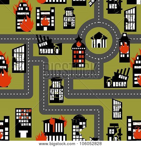 Earthquake In Seamless Pattern. Urban Structures Destroyed. Fire In Homes.