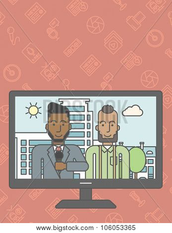 Television set broadcasting the news with an african-american reporter interviewing a man. Vector line design illustration. Vertical layout with a text space for a social media post.