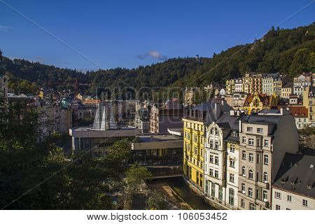 Panoramic View In Karlovy Vary Aka Carlsbad,czech Famous Spa Place