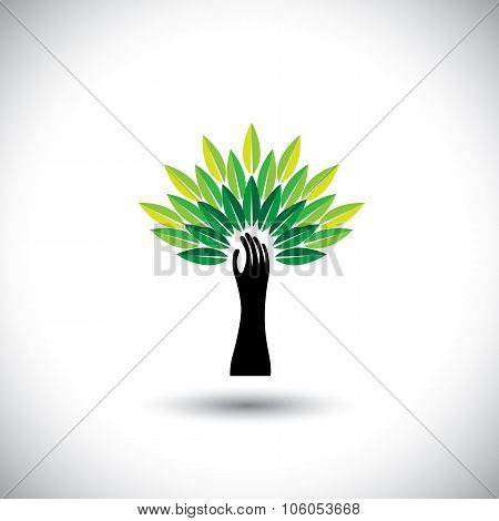 Human Hand & Tree Icon With Colorful Leaves - Eco Concept Vector
