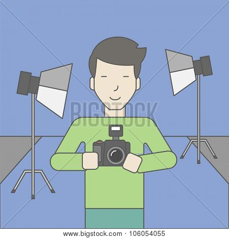 A smiling asian photographer holding a camera and standing inside the studio. Vector line design illustration. Square layout.