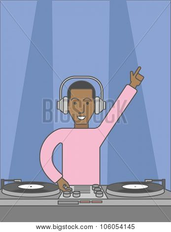 An african-american DJ wearing headphones playing music on turntable. Vector line design illustration. Vertical layout with a text space for a social media post.