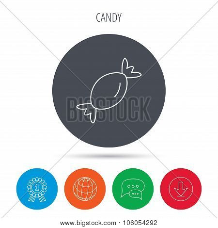 Candy icon. Sweet sugar lollipop sign.