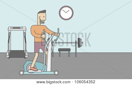A caucasian hipster man with beard exercising on a elliptical machine in the gym. Vector line design illustration. Horizontal layout with a text space for a social media post.
