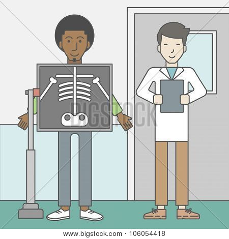 An african-american patient during an x-ray procedure and an asian doctor holding a radiograph. Vector line design illustration. Square layout.