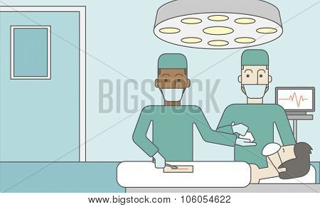 Two asian surgeons working and looking over a lying patient in an operating room. Vector line design illustration. Horizontal layout with a text space for a social media post.
