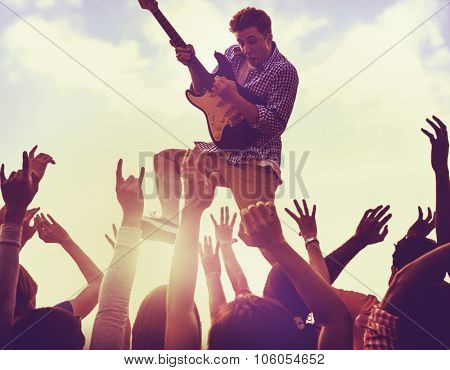Young Man Guitar Performing Concert Concept
