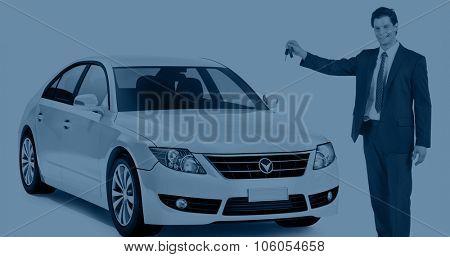 Car Vehicle Sedan Transportation 3D Illustration Concept