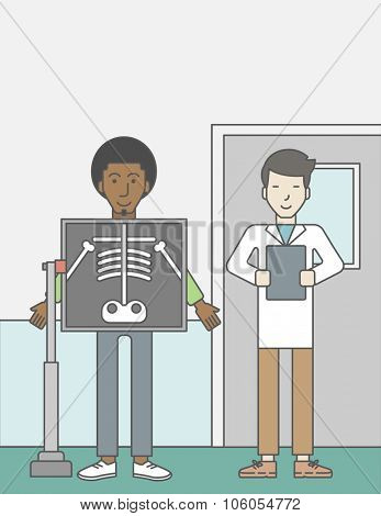 An african-american patient during an x-ray procedure and an asian doctor holding a radiograph. Vector line design illustration. Vertical layout with a text space for a social media post.