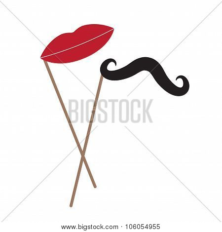 Vector mustache and lips on stick over white