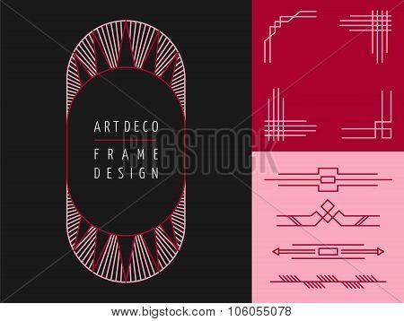 Art Deco Geometry Frame Set Mono Line Elements